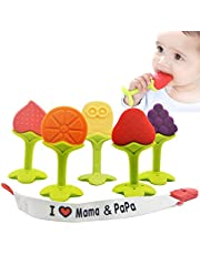 Baby Teething Toys - BPA Free Natural Organic Freezer Safe Teether Set with Pacifier Clip/Holder Non-Toxic for 3 to 12 Months Babies, Soft Silicone Fruit Teethers Toys, Infant and Toddler(5 pack)