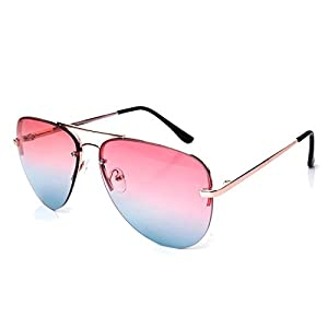 Pickin Multicolored reflective colorful sunglasses metal frog mirror men and women the paragraph sunglasses retro big glasses,Pink on the yellow piece