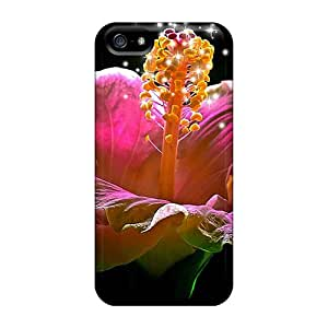 High Quality Hibiscus Sparkling Heart Cases For Iphone 5/5s / Perfect Cases