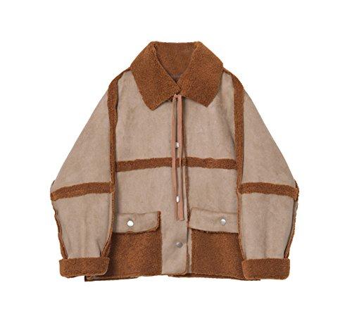 Los corderos de lana chaqueta de invierno costura femenina atadura suelto cubra la piel La luz Card