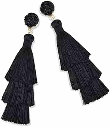 a1ef2e7f1 Zestlove Statement Tassel Earrings Drop Dangle Fringe Layered Handmade  Bohemian Earrings for Women Girl Novelty Fashion