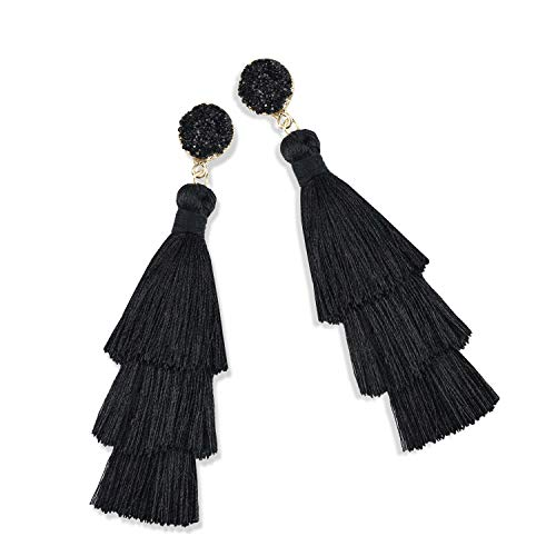 Statement Tassel Earrings for Women Drop Dangle Handmade Tiered Thread Layered Bohemian Beach Party Girl Novelty Fashion Summer Accessories - E3 Black