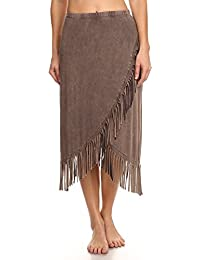 T-Party Womens Solid, Knee Length Skirt In A Relaxed Style With An A-Line Silhouette, Fringe And A Banded High Waist
