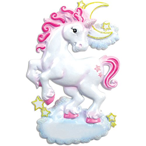 Personalized Unicorn Christmas Tree Ornament 2019 - Fairy Pink Rainbow Adventure Horn Wings Hooves Moon Stars Dreamer Fantastic Ride Baby Girl Boy Gift Pixie Magic - Free Customization
