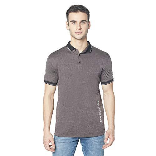 OSWAL Men's Cotton Blend Half Sleeve Collar T-Shirt Dark Grey