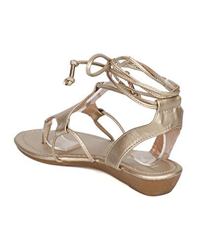 ... Alrisco Kvinner Kunstlær Gladiator Sandal - Mikro Kile Sandal - Ankel  Wrap Sandal - Gi51 Av ...