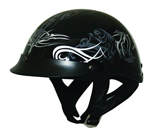 HCI HCI-100 Tribal Half Helmet with Visor (Black Silver and White, Medium) ()