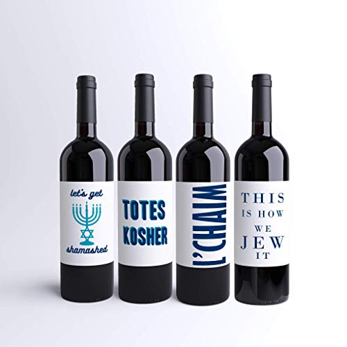 Hanukkah Wine Labels Funny Jewish Wine Bottle Labels (Pack of 4) Holiday Dinner Party Custom Printed Wine Labels | Chanukah Party | Menorah Let's Get Shamashed This Is How We Jew It Totes Kosher Decor