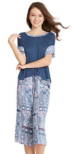Summer Pajamas for Women - Stylish Print Ladies Pajama Set, Oversized Shirt Capri Lounge Pants, Bedouin Patch M(410)