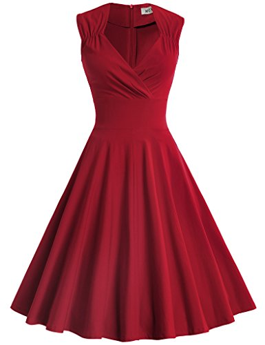 MUXXN-Womens-50s-60s-Vintage-Sexy-V-neck-Swing-Dress