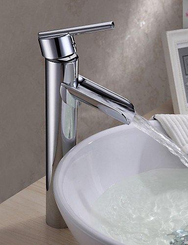 Chrom-Finish Zeitgenössische massivem Messing Einhand-WasserfaÖl Waschbecken Wasserhahn (Groß)