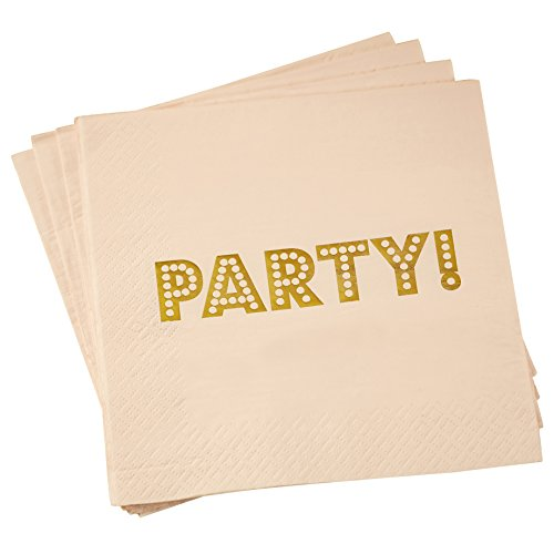 Cocktail Party Invitation Wording - Ginger Ray PP-600 Pastel Perfection Foiled Pink Pastel Paper Party Napkins, Gold