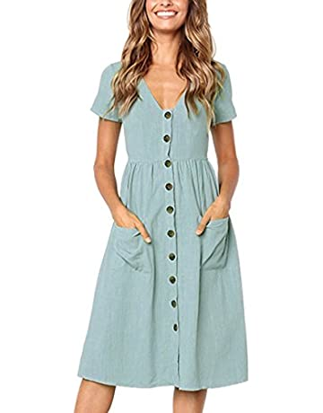 7ebcd4c71d483 Angashion Women's Dresses-Short Sleeve V Neck Button T Shirt Midi Skater  Dress with Pockets