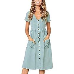Angashion Women's Dresses-Short Sleeve V Neck Button T Shirt Midi Skater Dress with Pockets Light Blue XL