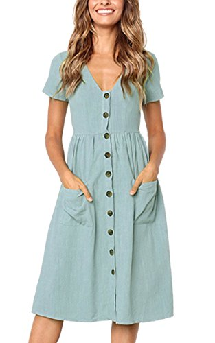 Angashion Women's Dresses-Short Sleeve V Neck Button T Shirt Midi Skater Dress with Pockets Light Blue XL