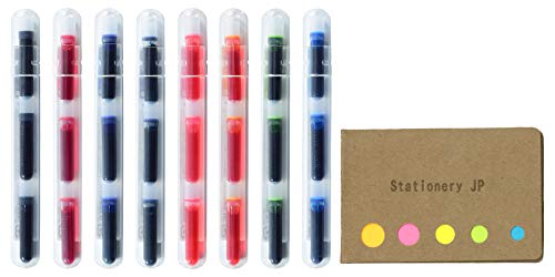 Pilot Petit Refills for Petit Fountain Pen/Sign Pen/Fude Brush Pen, 8 Color(Black/Blue/Red/Blue Black/Pink/Apricot Orange/Apple Green/Clear Blue)Ink, 8 Pack/total 24 Cartridges, Sticky Notes Value -
