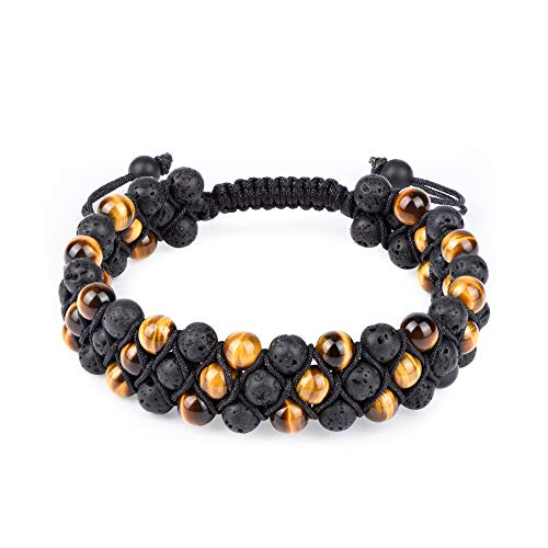 HASKARE Mens Bead Bracelet Tigers Eye Black Onyx Diffuser Lava Rock Tennis Yoga Healing Natural Stone Bracelet from HASKARE