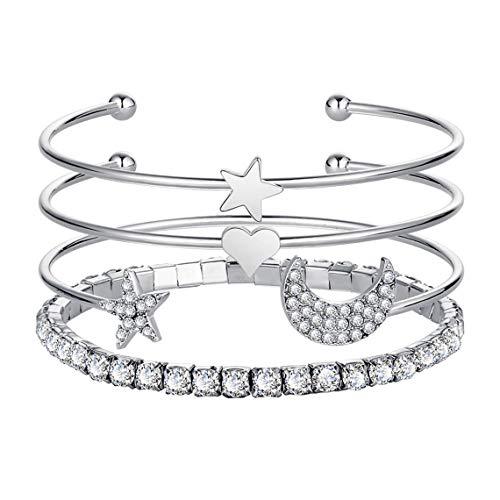 - Rurah Stars Moon Open Bracelet Set Jewelry Pentagon Full Diamond Claw Drill Bracelet Women Party Wrist Decoration Accessories,Silver Color