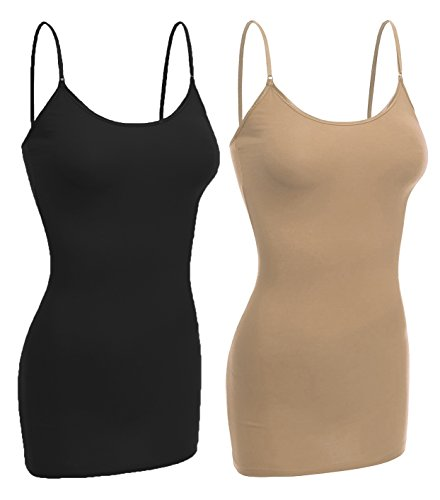 Cami Bounce Bra - Emmalise Women Camisole Built in Bra Wireless Fabric Support Long Layering Cami, Small, 2Pk Black Khaki