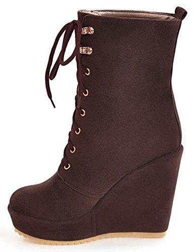 Platform High Up Lace Riding Calf Wedge IDIFU Sexy Brown Boots Women's Heels Mid 1wtxq4TF4E
