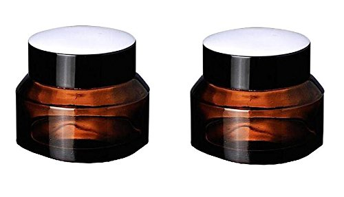 2 PCS Empty Glass Refillable Amber Inclined Shoulder Cosmeti