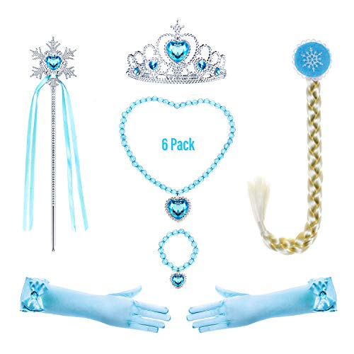 Princess Elsa Costume Accessories Set for Toddler Girls Dress Up Birthday Party