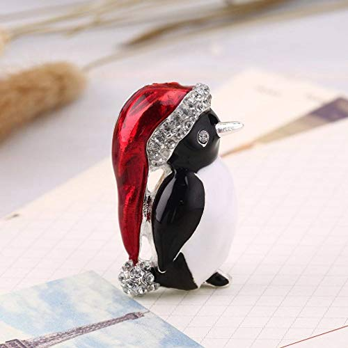 - QINGD's Christmas Rhinestone Cute Penguin Brooch Pin Xmas Gift Party Decoration (One Size)