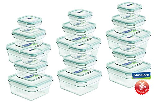 - Snaplock Lid Tempered Glasslock Storage Containers 36pc set Square~Microwave & Oven Safe Spill Proof