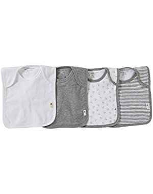 Set of 4 Bee Essentials Lap Shoulder Bibs, 100% Organic Cotton, Heather Grey Variety