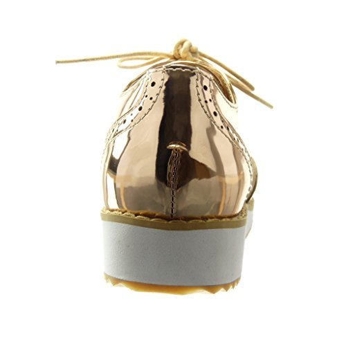 Chaussure Angkorly Compensé Plateforme Basse 2 cm Femme Derbies Fleurs Perforée Champagne Tréssé Talon Mode 5 dqqrF