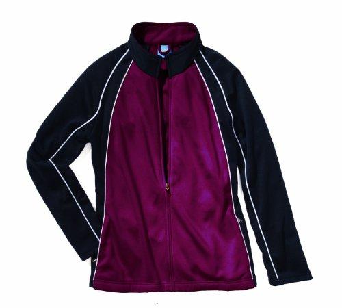 Charles River Apparel Women's Warm Up Olympian Jacket, Maroon/White/Black, XL ()