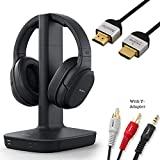 Sony WH-L600 Headphone & Cable Bundle Includes - Wireless Digital Surround Overhead Headphones Feature 98.43-ft Range, Volume Control, Voice Mode - 6-ft 3.5mm Stereo + NeeGo RCA Plug Y-Adapter for TV