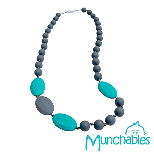 Munchables Baby Teething Necklace - Made with 100% Baby-Safe Silicone - Splash of Colour - Baby Splash Aqua