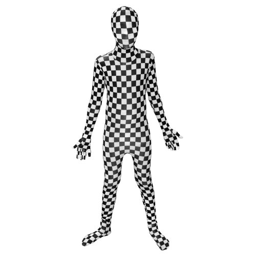 Fantastic 4 White Costume (Kids Black and White Check Morphsuits Childs Costume Medium 3