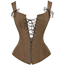 Charmian Women's Renaissance Lace Up Vintage Boned Bustier Corset with Garters Brown Large