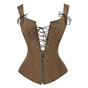 Charmian Women's Renaissance Lace Up Vintage Boned Bustier Corset with Garters