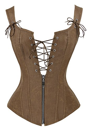 Charmian Women's Renaissance Lace Up Vintage Boned Bustier Corset with Garters Brown XX-Large (Garter Leather Up Lace)