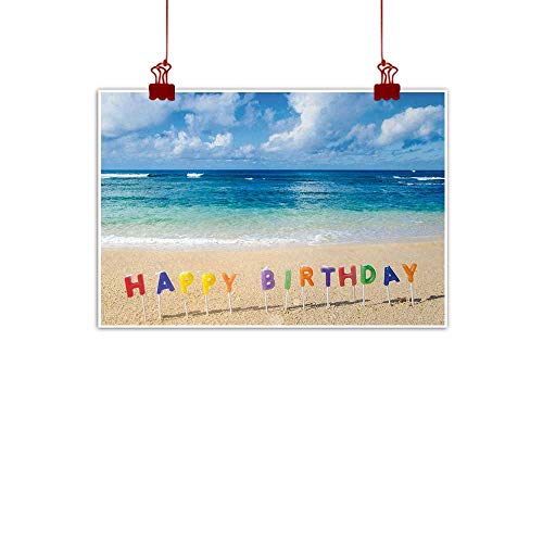 Sunset glow Canvas Wall Art Birthday,Happy Birthday Sign on The Tropical Beach in Hawaii Exotic Sweet Surprise Theme,Multicolor 20