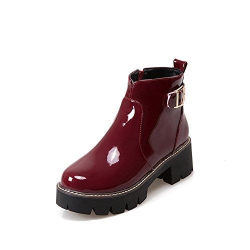 Donne Laterale Cerniera Rosso Vernice Caviglia Stivali Vino Tacco Fibbia Lucksender Piattaforma Quadrato aUCqwOx