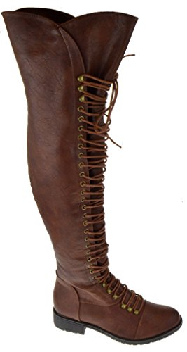 SHOEDEZIGNS Travis 05 Women Military Lace Up Thigh High Combat Boot Brown 10