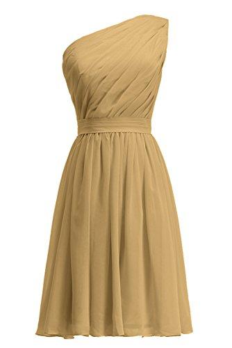 Blumenmädchenkleid Schulter Knielang plissiertes Gold Abendkleid KekeHouse® Ein Tochter Brautjungkleid Mutter Kleid wqTRx4HC