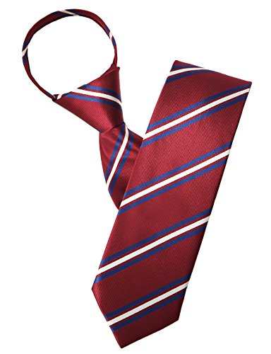 H2H Mens Casual Comfortable Zipper Lightweight Business Suit Neck Tie WINE (KMANT0125)