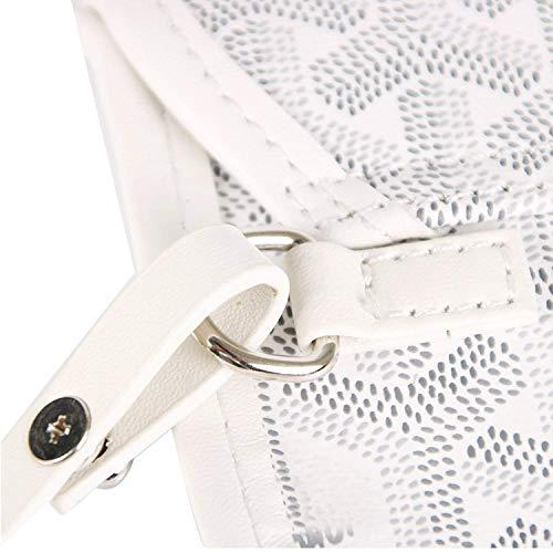 Stylesty Fashion Shopping PU Tote Bag, Designer Shoulder Handbags with Key Ring … (Medium, White1) by Stylesty (Image #2)