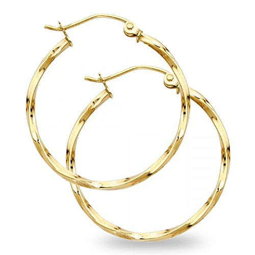 Curled Hoops 14k Yellow Gold Twisted Earrings Diamond Cut French Lock Polished Design 24 x 1.5 mm 14k Yellow Twisted Design