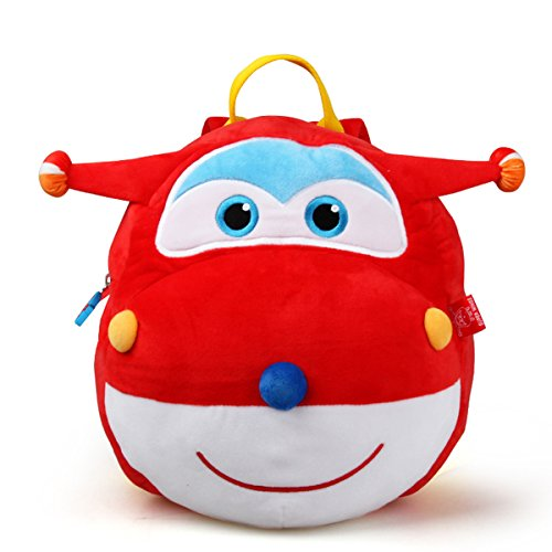 YOURNELO Kid's Cute Cartoon Figure Plush Toys Toddler Backpack for Preschool Boys Girls (Super Wings Red) (Touring Wing)