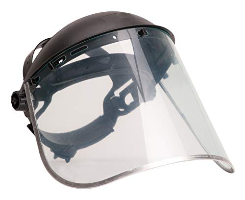 Brite Safety Face Shield Plus - All Purpose Clear Polycarbonate Full Face Shields Work Masks with Harness Ratchet Adjustment