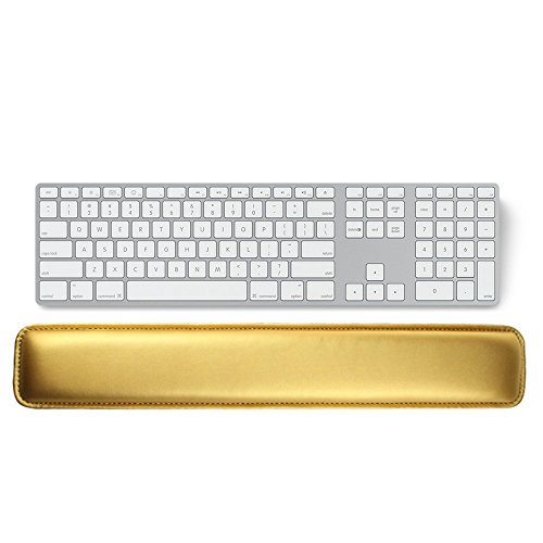 17dd2b90f96 Keyboard Wrist Rest Pad,Gold PU Leather Ergonomic Wrist Rest Support for  Typing Laptop/