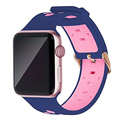 Oitom 42mm Soft Breathable Silicone Replacement Wristband Straps with Plated TPU Protective Case for Apple Watch Nike+,Series 1,Series 2,Sport,Apple Watch Edition M/L Size(Blue/Pink 42mm)