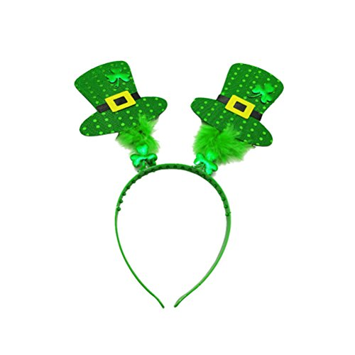 St Patrick's Day Headband Reindeer Shamrock Hat Hair Hoop Headpiece for Holiday Decoration party favors (St Patrick's)