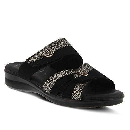 Flexus Kvinna Stil Quasida Svart Multi Euro Storlek 35 Mocka Slide Sandal